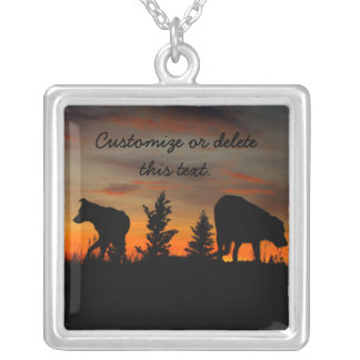 Dog Silhouette at Sunset; Customizable Square Pendant Necklace
