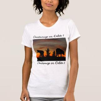 Dog Silhouette at Sunset; Customizable T-shirt