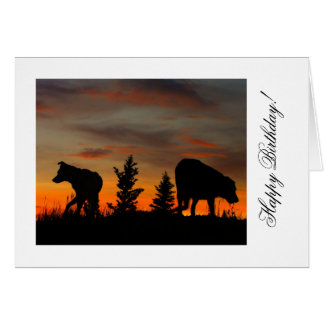 Dog Silhouette at Sunset; Happy Birthday Greeting Card