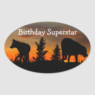 Dog Silhouette at Sunset; Happy Birthday Oval Sticker