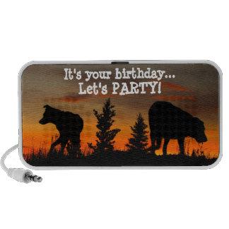 Dog Silhouette at Sunset; Happy Birthday Travelling Speaker