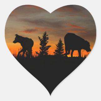 Dog Silhouette at Sunset Heart Sticker