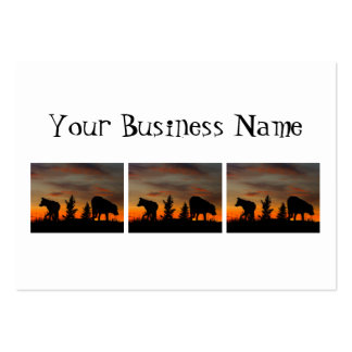 Dog Silhouette at Sunset Large Business Cards (Pack Of 100)