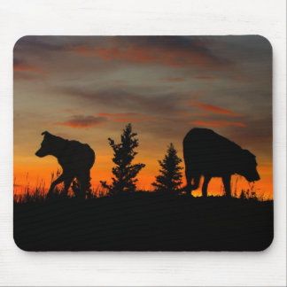 Dog Silhouette at Sunset Mouse Pad