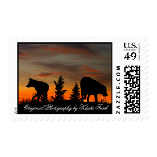 Dog Silhouette at Sunset Postage
