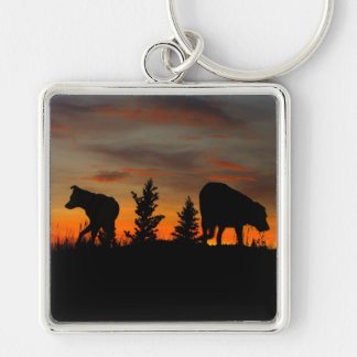 Dog Silhouette at Sunset Silver-Colored Square Keychain