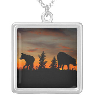 Dog Silhouette at Sunset Square Pendant Necklace