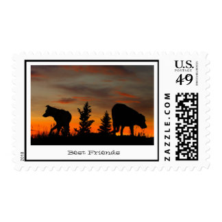 Dog Silhouette at Sunset Stamp