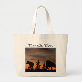 Dog Silhouette at Sunset; Thank You Jumbo Tote Bag