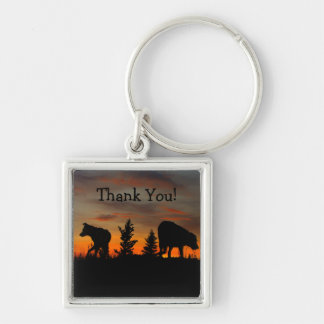 Dog Silhouette at Sunset; Thank You Silver-Colored Square Keychain