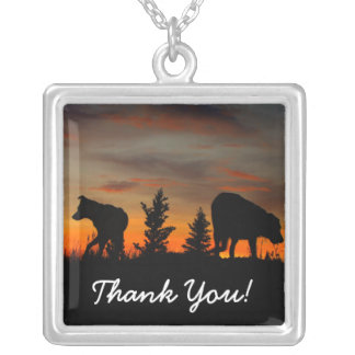 Dog Silhouette at Sunset; Thank You Square Pendant Necklace