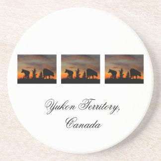 Dog Silhouette at Sunset; Yukon Territory, Canada Beverage Coasters
