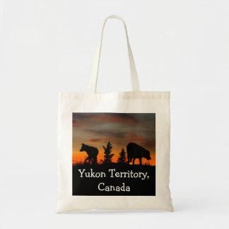 Dog Silhouette at Sunset; Yukon Territory, Canada Budget Tote Bag