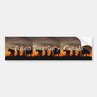 Dog Silhouette at Sunset; Yukon Territory, Canada Car Bumper Sticker