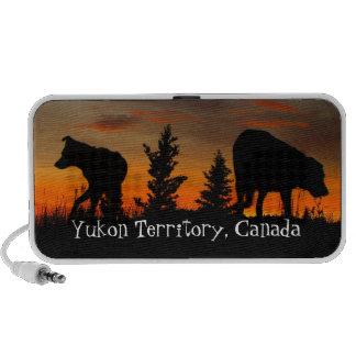 Dog Silhouette at Sunset; Yukon Territory, Canada iPhone Speakers
