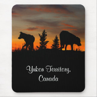 Dog Silhouette at Sunset; Yukon Territory, Canada Mouse Pad