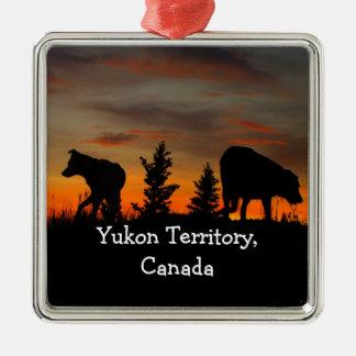 Dog Silhouette at Sunset; Yukon Territory, Canada Square Metal Christmas Ornament