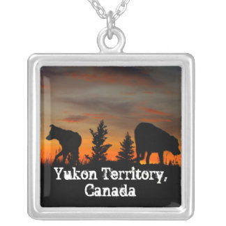Dog Silhouette at Sunset; Yukon Territory, Canada Square Pendant Necklace