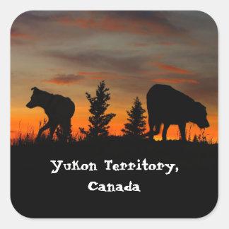 Dog Silhouette at Sunset; Yukon Territory, Canada Square Sticker