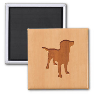 Dog silhouette engraved on wood design 2 inch square magnet