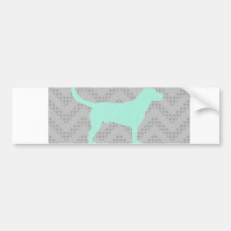 Dog Silhouette in Mint on Chevron Zigzag pattern Bumper Sticker