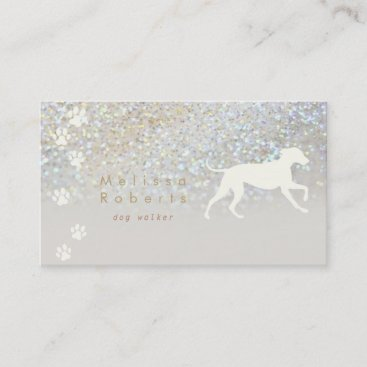 dog silhouette paw prints business card