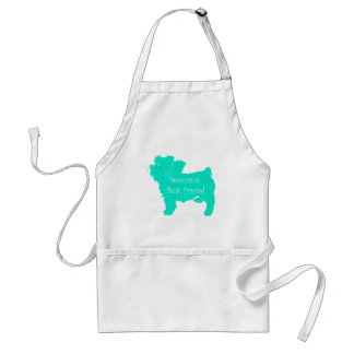 Dog Silhouette Woman's Best Friend in Teal Adult Apron
