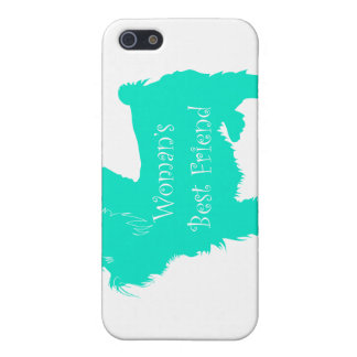 Dog Silhouette Woman's Best Friend in Teal iPhone 5 Covers