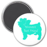 Dog Silhouette Woman's Best Friend in Teal Refrigerator Magnet