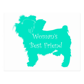 Dog Silhouette Woman's Best Friend in Teal Postcard