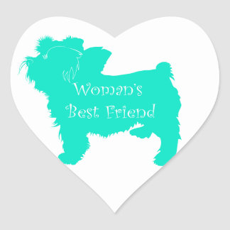Dog Silhouette Woman's Best Friend in Teal Stickers