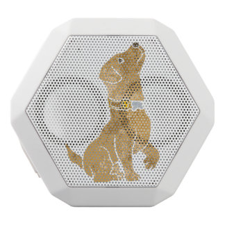 dog sitting. adopt a pet. white bluetooth speaker