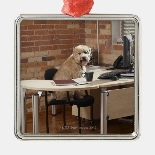 Dog Sitting at Desk Metal Ornament