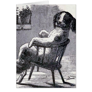 """Dog Sitting in a Chair"" Illustration Card"