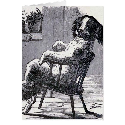 """""""Dog Sitting in a Chair"""" Illustration Greeting Card"""