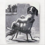 """""""Dog Sitting in a Chair"""" Illustration Mouse Pad"""