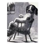 """Dog Sitting in a Chair"" Illustration Postcard"