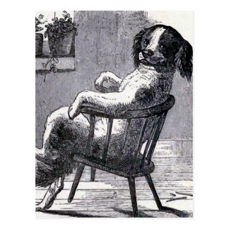 """Dog Sitting in a Chair"" Illustration Post Card"
