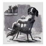 """""""Dog Sitting in a Chair"""" Illustration Posters"""