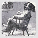 """""""Dog Sitting in a Chair"""" Illustration Square Sticker"""