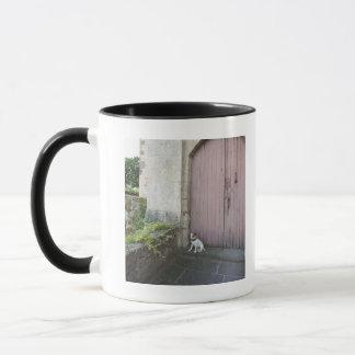Dog sitting in front of closed doors mug