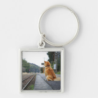 Dog sitting on train station Silver-Colored square keychain