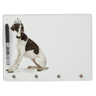 Dog sitting with a tiara on head dry erase board with keychain holder