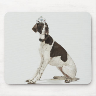 Dog sitting with a tiara on head mouse pad