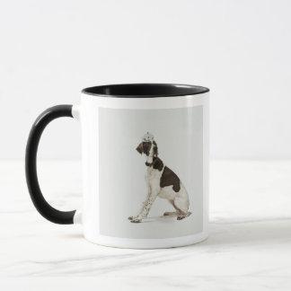 Dog sitting with a tiara on head mug