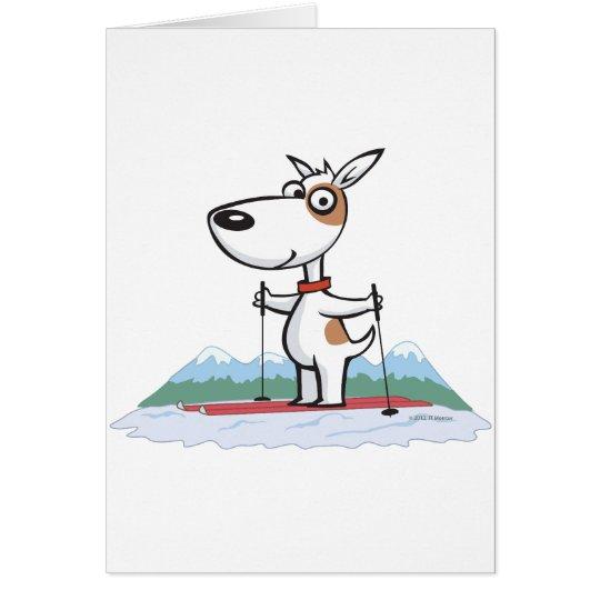 Dog Skiing Card