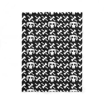 Halloween Themed Dog Skull And Bones Pattern Fleece Blanket