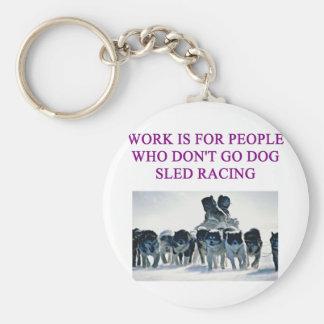 dog sled racing iditarod lover basic round button keychain