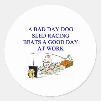 dog sled racing iditarod lover classic round sticker