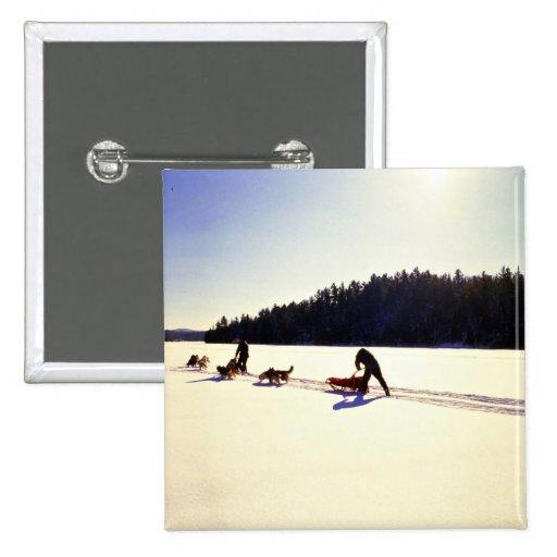 Dog sledding, Mont Ste Marie, Quebec Buttons